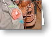Leather Greeting Cards - Fresh Off The Farm Greeting Card by Jan Amiss Photography