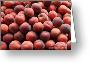 Fruit Basket Greeting Cards - Fresh Peaches - 5D17816 Greeting Card by Wingsdomain Art and Photography