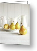 Juice Greeting Cards - Fresh pears on old table Greeting Card by Sandra Cunningham