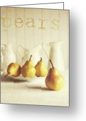 Juice Greeting Cards - Fresh pears on old wooden table with vintage feeling Greeting Card by Sandra Cunningham
