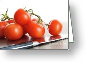 Eat Greeting Cards - Fresh ripe tomatoes on stainless steel counter Greeting Card by Sandra Cunningham