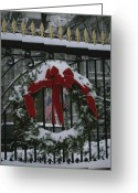 Decoration And Ornament Greeting Cards - Fresh Snow Covers A Christmas Wreath Greeting Card by Stephen St. John