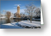 Tree Limbs Greeting Cards - FRESH SNOW in RIVERFRONT PARK - SPOKANE WASHINGTON Greeting Card by Daniel Hagerman