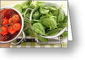 Gourmet Vegetable Greeting Cards - Fresh spinach leaves with tomatoes  Greeting Card by Sandra Cunningham