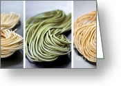 Green Tomato Greeting Cards - Fresh tagliolini pasta Greeting Card by Elena Elisseeva