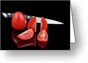 Slice Greeting Cards - Fresh Tomatoes and knife Greeting Card by Gert Lavsen