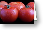 Wet Greeting Cards - Fresh Tomatoes Greeting Card by Gert Lavsen