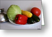 Kitchen Photos Greeting Cards - Fresh Vegetables 2 Greeting Card by Methune Hively