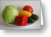 Kitchen Photos Greeting Cards - Fresh Vegetables Greeting Card by Methune Hively