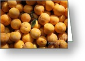 Fruit Basket Greeting Cards - Fresh Yellow Plums - 5D17814 Greeting Card by Wingsdomain Art and Photography