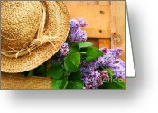 Wicker Greeting Cards - Freshly picked lilacs Greeting Card by Sandra Cunningham