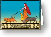 Side View  Greeting Cards - Freya Norse goddess Greeting Card by Aloysius Patrimonio