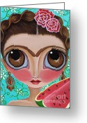 Mexican Flowers Greeting Cards - Frida and the Watermelon Greeting Card by Jaz Higgins
