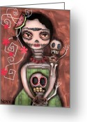 Mexican Greeting Cards - Frida Day of the Dead Greeting Card by  Abril Andrade Griffith
