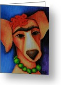 Deb Harvey Greeting Cards - Frida Dog Greeting Card by Deb Harvey