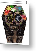 Mexican Flowers Greeting Cards - Frida in a Coffin Greeting Card by  Abril Andrade Griffith
