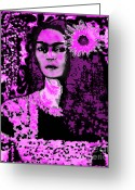 Yesayah Greeting Cards - Frida in Frida Pink Greeting Card by Fania Simon