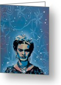 Spraypaint Greeting Cards - Frida Greeting Card by Iosua Tai Taeoalii