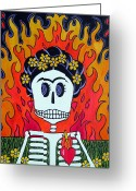 Calaveras Greeting Cards - Frida is Hot Greeting Card by Robin Westenhiser