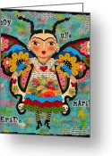Frida Kahlo Greeting Cards - Frida Kahlo Butterfly Greeting Card by LuLu Mypinkturtle