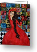 Folk Art Greeting Cards - Frida Kahlo Flamenco Dancing  Greeting Card by Rain Ririn