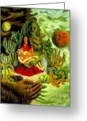 Artist Canvas Painting Greeting Cards - Frida Kahlo Love Embrace Greeting Card by Pg Reproductions