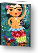Frida Kahlo Greeting Cards - Frida Kahlo Mermaid Queen Greeting Card by LuLu Mypinkturtle