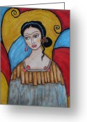 Folk Art Greeting Cards - Frida kahlo Greeting Card by Rain Ririn