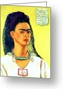 Artist Canvas Painting Greeting Cards - Frida Kahlo Self Portrait Greeting Card by Pg Reproductions