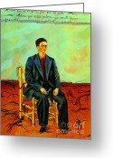Artist Canvas Painting Greeting Cards - Frida Kahlo Self-Portrait with Cropped Hair Autorretrato Con Pelo Cortado Greeting Card by Pg Reproductions