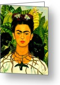 Canvas Greeting Cards - Frida Kahlo Self Portrait With Thorn Necklace and Hummingbird Greeting Card by Pg Reproductions