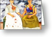 Artist Canvas Painting Greeting Cards - Frida Kahlo The Two Fridas Greeting Card by Pg Reproductions