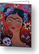 Turkus Greeting Cards - Frida With Skulls Greeting Card by Pristine Cartera Turkus
