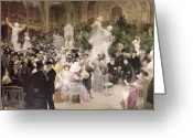 Impressionist Greeting Cards - Friday at the Salon Greeting Card by Jules Alexandre Grun