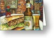 Beer Greeting Cards - Friday Night Special Greeting Card by Dianne Parks