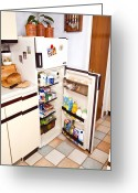 Yoghurt Greeting Cards - Fridge With Open Door Greeting Card by Martyn F. Chillmaid