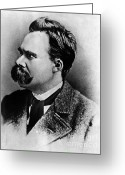Critical Illustration Greeting Cards - Friedrich Wilhelm Nietzsche, German Greeting Card by Omikron