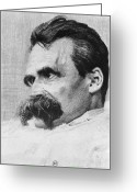 Critical Illustration Greeting Cards - Friedrich Wilhelm Nietzsche, German Greeting Card by Photo Researchers