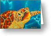 Caribbean Sea Greeting Cards - Friendly Encounter Greeting Card by Daniel Jean-Baptiste