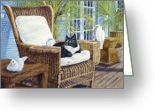 Wicker Chair Greeting Cards - Friends Greeting Card by Danielle Perry 