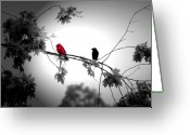 Red Bird Greeting Cards - Friends Greeting Card by Emily Stauring