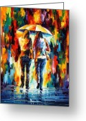 Afremov Greeting Cards - Friends Under The Rain Greeting Card by Leonid Afremov