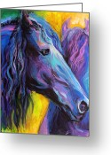 Horse Drawings Greeting Cards - Friesian horses painting Greeting Card by Svetlana Novikova