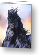Horse Portrait Pastels Greeting Cards - Friesian spirit Greeting Card by Elena Kolotusha