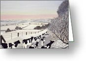 Slush Greeting Cards - Friesians in Winter Greeting Card by Maggie Rowe