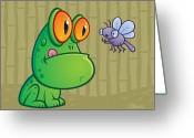 Dragonfly Greeting Cards - Frog and Dragonfly Greeting Card by John Schwegel