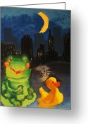 Lilly Pad Painting Greeting Cards - Frog and Duck go to the bog City by way of the Lake Greeting Card by M Zimmerman