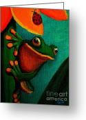 Frog Art Greeting Cards - Frog and ladybug Greeting Card by Nick Gustafson