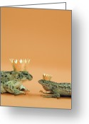 Frog Prince Greeting Cards - Frog And Lizard Wearing Crowns Greeting Card by Walter B. McKenzie
