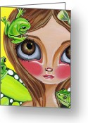 Boho Greeting Cards - Frog Fairy Greeting Card by Jaz Higgins
